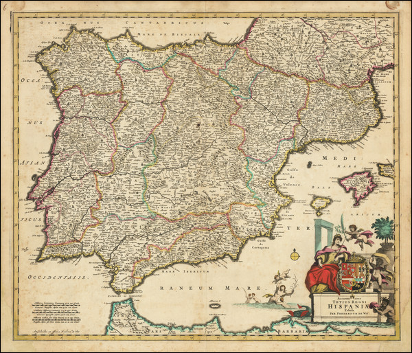 25-Spain and Portugal Map By Frederick De Wit
