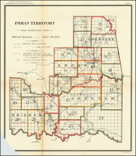 9-Oklahoma & Indian Territory Map By United States Department of the Interior
