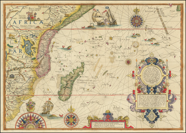 65-Indian Ocean, South Africa and East Africa Map By Jan Huygen Van Linschoten