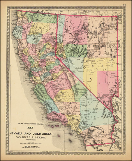 32-Nevada and California Map By H.H. Lloyd