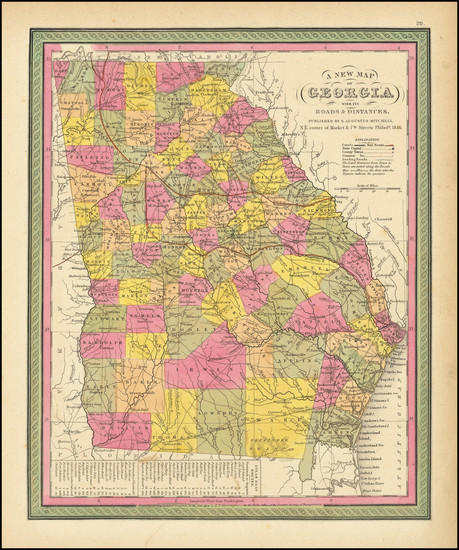 83-Georgia Map By Samuel Augustus Mitchell