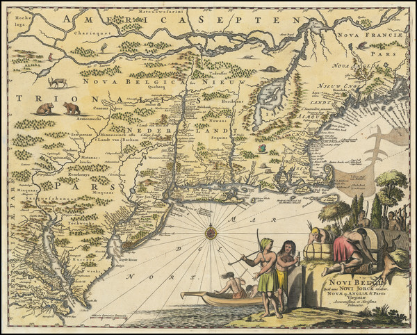 23-New England, New York State and Mid-Atlantic Map By John Ogilby