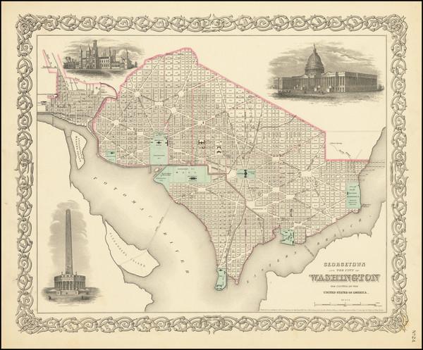 9-Washington, D.C. Map By Joseph Hutchins Colton