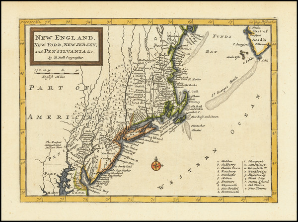 59-New England, New York State and Mid-Atlantic Map By Herman Moll