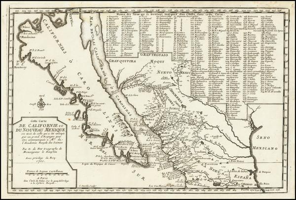 20-Baja California, California and California as an Island Map By Nicolas de Fer