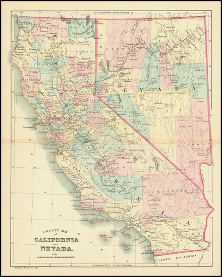 68-Nevada and California Map By Wm. Bradley & Co.