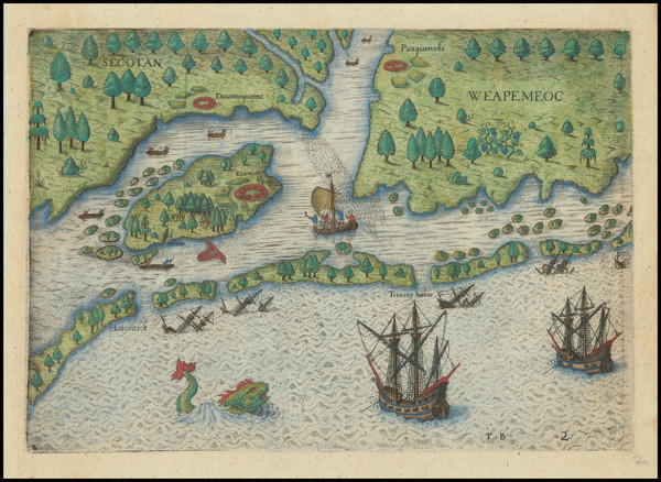 85-Southeast and North Carolina Map By Theodor De Bry