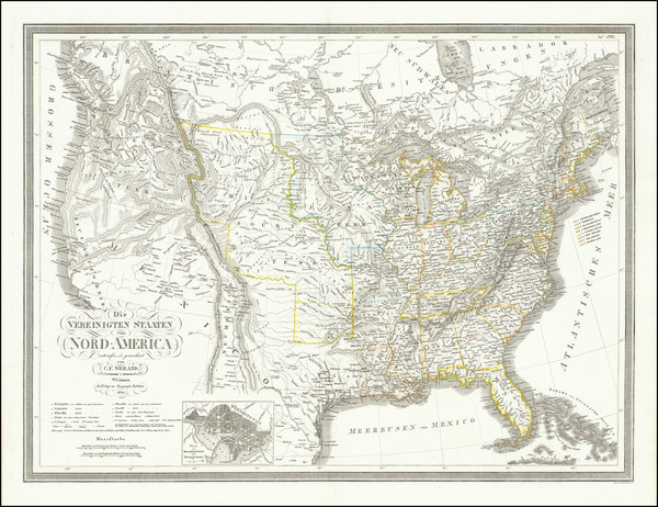 93-United States and Texas Map By Carl Ferdinand Weiland