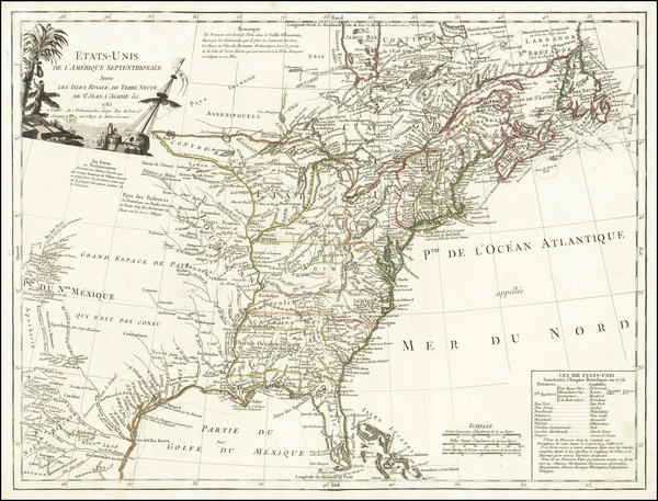 28-United States and American Revolution Map By Charles Francois Delamarche