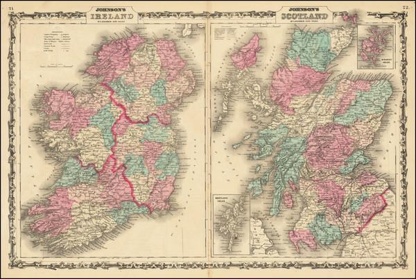 80-Scotland and Ireland Map By Alvin Jewett Johnson  &  Benjamin P Ward