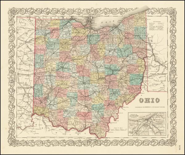 27-Ohio Map By Joseph Hutchins Colton