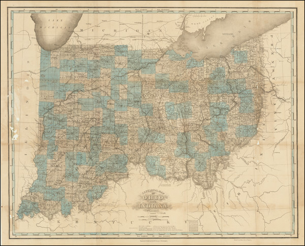 88-Midwest, Indiana and Ohio Map By Henry Schenk Tanner