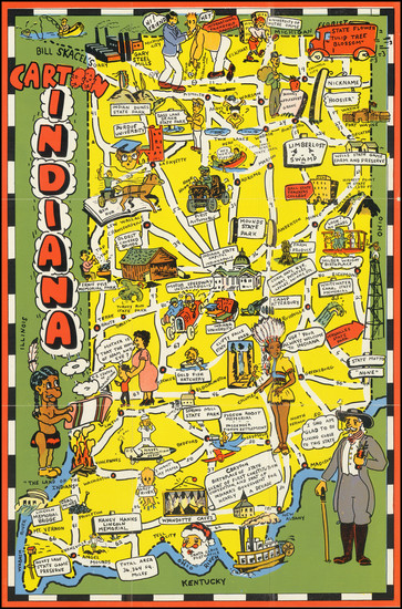 93-Indiana and Pictorial Maps Map By Bill Skacel