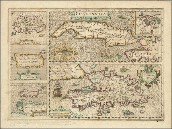 21-Caribbean, Cuba, Jamaica, Hispaniola, Puerto Rico and Other Islands Map By Jodocus Hondius - Me