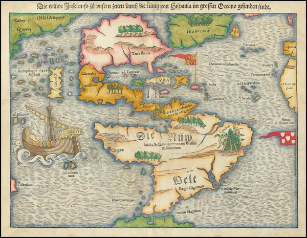 34-Western Hemisphere, North America, South America, Pacific and America Map By Sebastian Munster