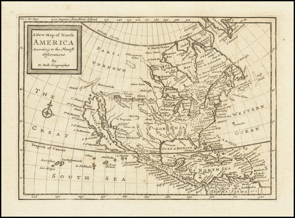 72-North America and California as an Island Map By Herman Moll