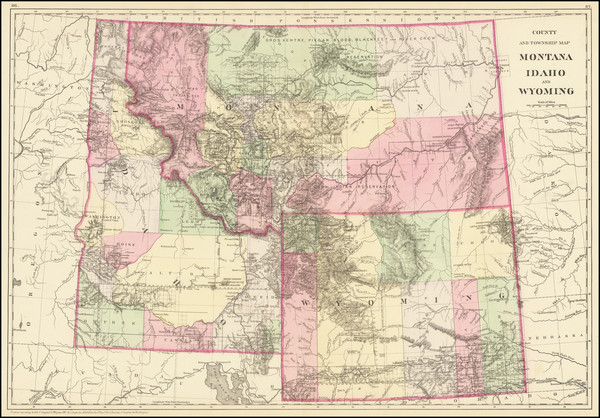 40-Rocky Mountains, Idaho, Montana and Wyoming Map By Samuel Augustus Mitchell Jr.