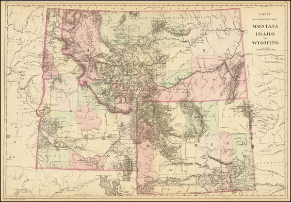 54-Rocky Mountains, Idaho, Montana and Wyoming Map By Samuel Augustus Mitchell Jr.