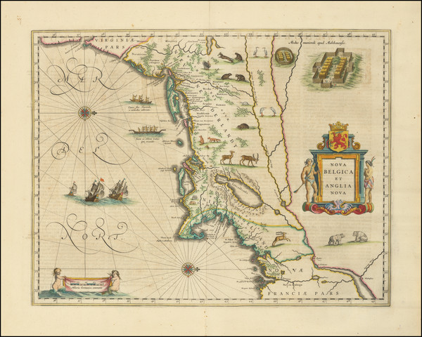 68-New England, New York State and Mid-Atlantic Map By Willem Janszoon Blaeu