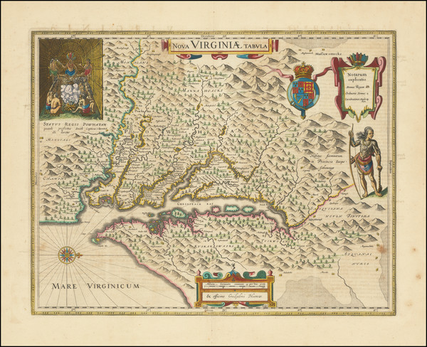 43-Mid-Atlantic, Delaware, Southeast and Virginia Map By Willem Janszoon Blaeu