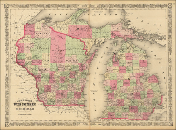 71-Michigan and Wisconsin Map By Alvin Jewett Johnson  &  Benjamin P Ward