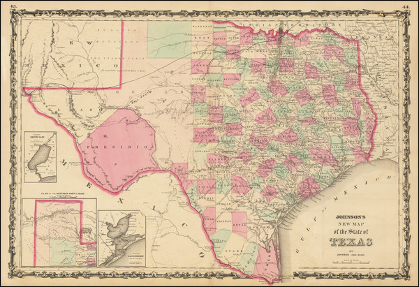 64-Texas Map By Alvin Jewett Johnson  &  Benjamin P Ward