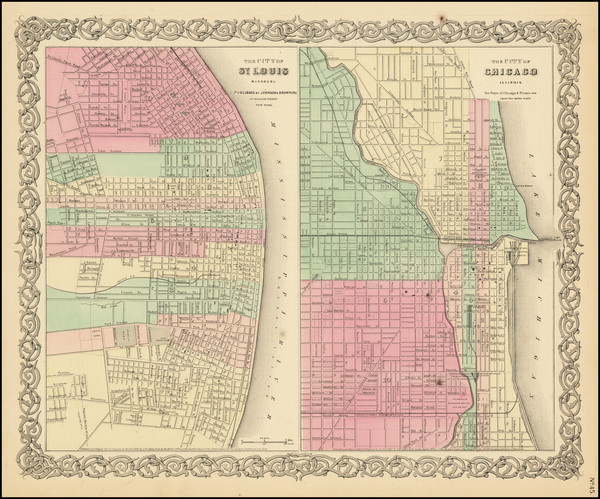 32-Missouri and Chicago Map By Joseph Hutchins Colton