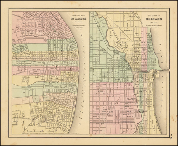 57-Missouri and Chicago Map By Joseph Hutchins Colton