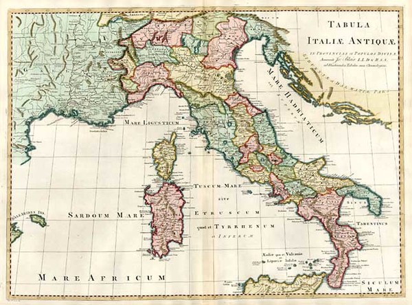 32-Europe, Italy, Mediterranean and Balearic Islands Map By John Blair