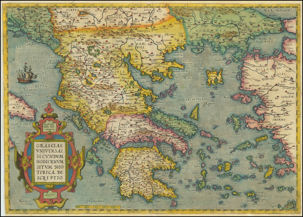 8-Greece Map By Abraham Ortelius