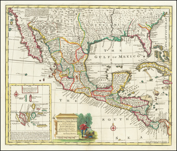45-South, Texas, Southwest and Mexico Map By Emanuel Bowen