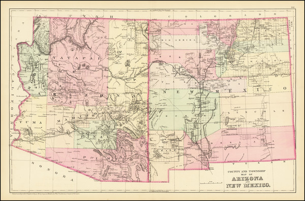 84-Arizona and New Mexico Map By Samuel Augustus Mitchell Jr.