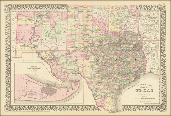 99-Texas Map By Samuel Augustus Mitchell Jr.
