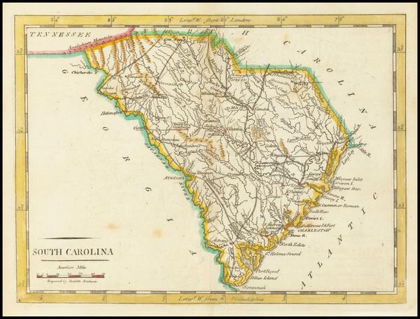35-South Carolina Map By Mathew Carey