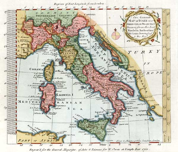 69-Europe and Italy Map By Emanuel Bowen