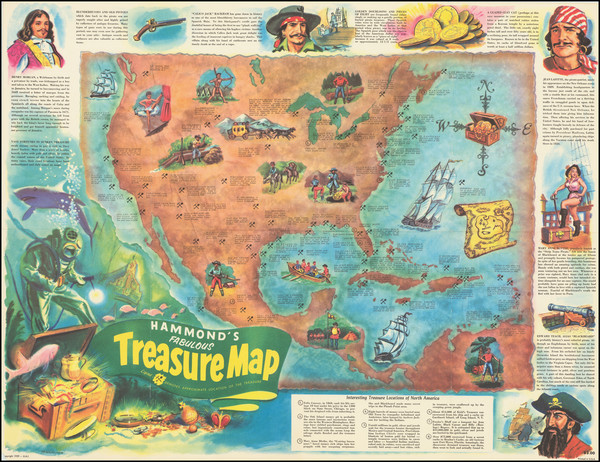 43-United States, Mexico, Caribbean and Pictorial Maps Map By Chuck Mazoujian