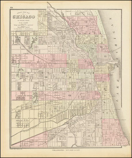 71-Chicago Map By O.W. Gray