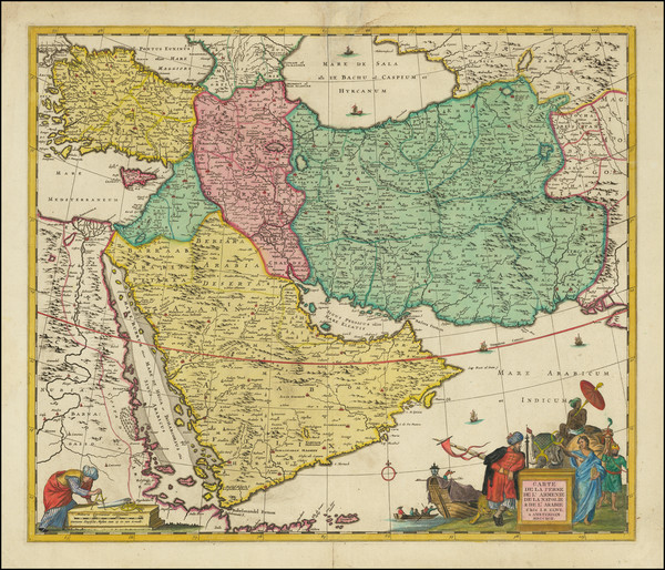63-Central Asia & Caucasus, Middle East and Arabian Peninsula Map By Jan Barend Elwe