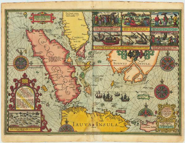 45-Singapore, Indonesia, Malaysia and Other Islands Map By Cornelis Claesz / Willem Lodewijcksz
