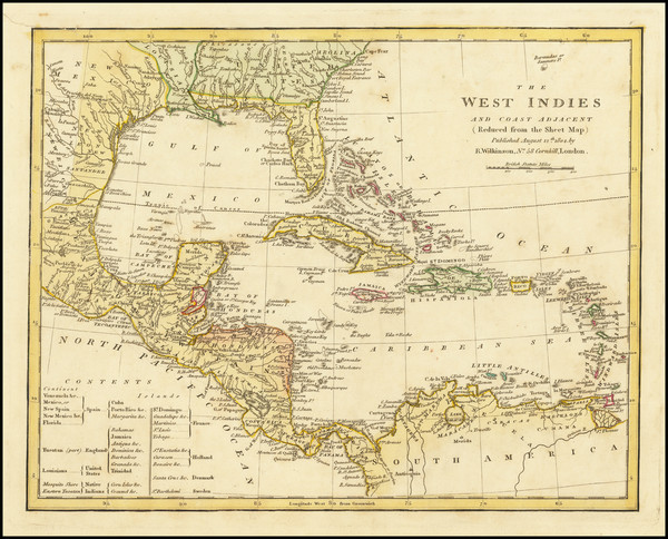 67-Caribbean and Central America Map By Robert Wilkinson