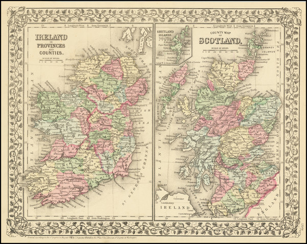 46-Scotland and Ireland Map By Samuel Augustus Mitchell Jr.