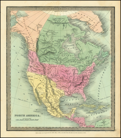 65-North America Map By David Hugh Burr