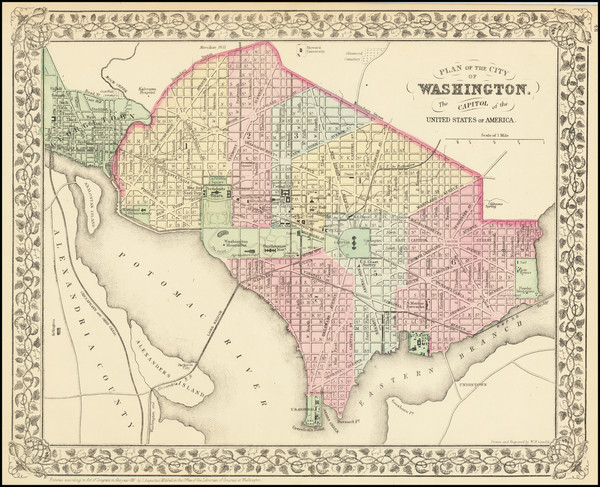 14-Washington, D.C. Map By Samuel Augustus Mitchell Jr.