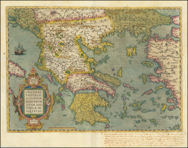 50-Greece Map By Abraham Ortelius
