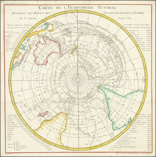26-Polar Maps, Australia and Oceania Map By Jacques Nicolas Bellin / James Cook