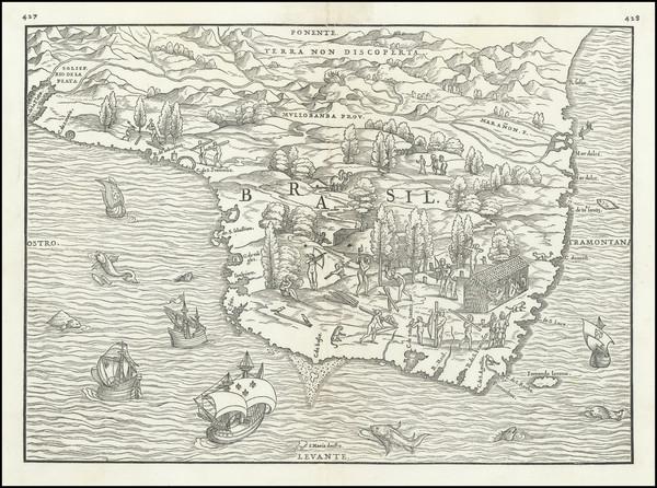 50-Brazil Map By Giovanni Battista Ramusio