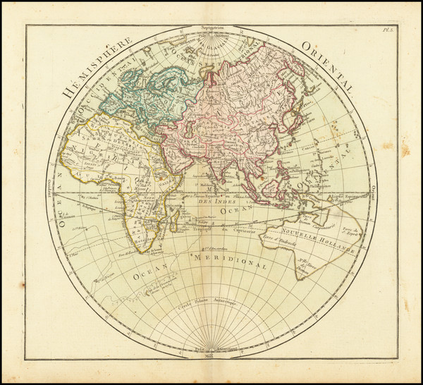 28-World, Eastern Hemisphere, Australia and Oceania Map By Louis Brion de la Tour