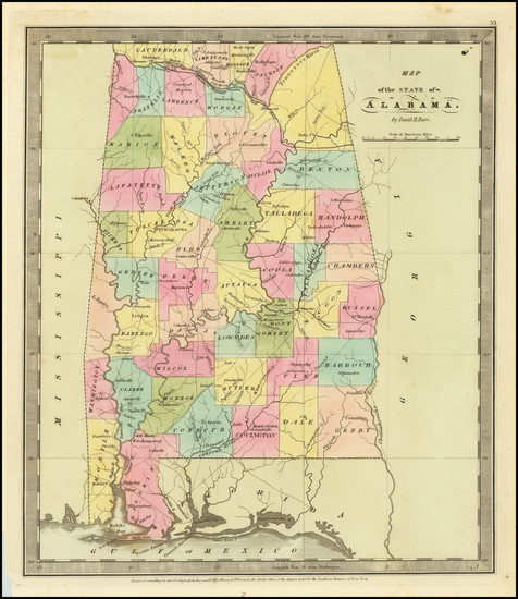 95-Alabama Map By David Hugh Burr
