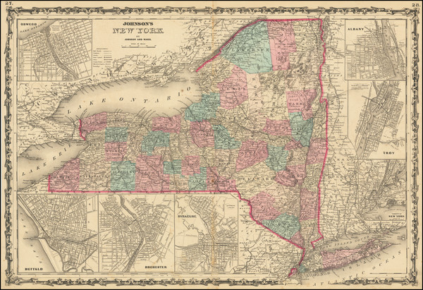 34-New York State Map By Benjamin P Ward  &  Alvin Jewett Johnson