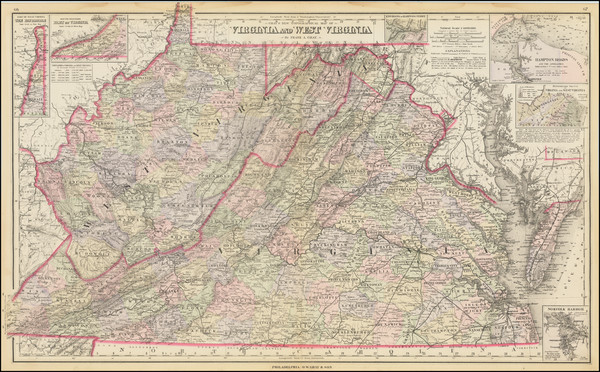 53-West Virginia and Virginia Map By O.W. Gray